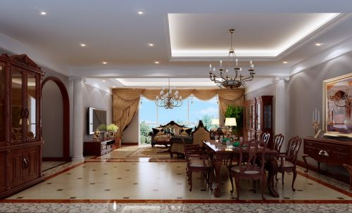 混搭风格别墅客厅窗帘装修效果图欣赏