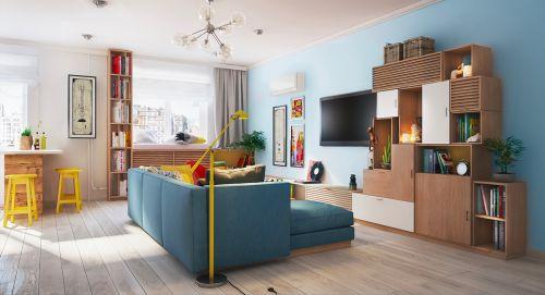 混搭风格二居室客厅窗帘装修图片