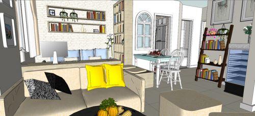 混搭风格一居室客厅影视墙装修效果图欣赏