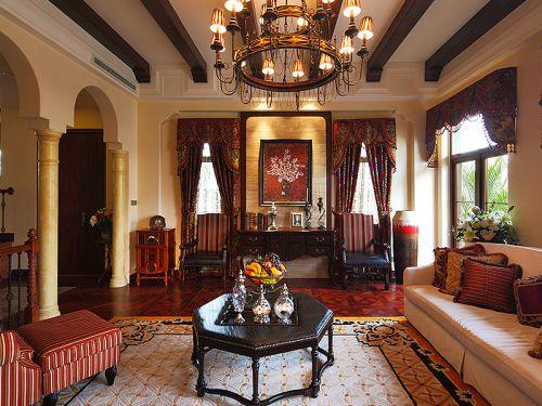 混搭风格别墅客厅吊顶装修效果图欣赏
