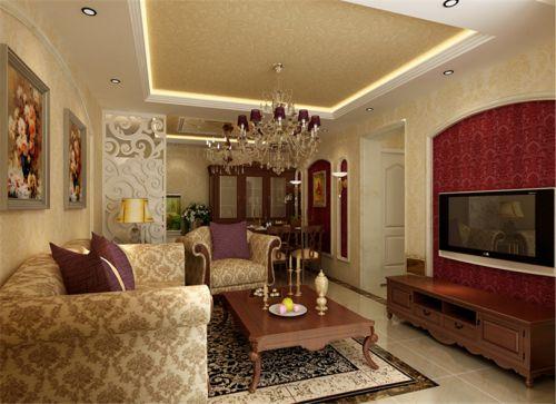 混搭风格二居室客厅隔断装修效果图大全