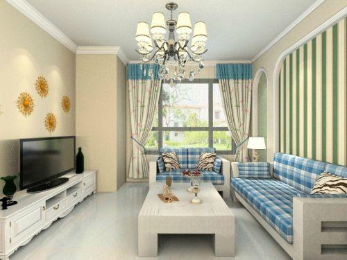 混搭风格二居室客厅窗帘装修效果图大全