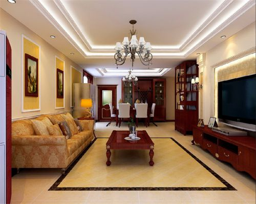 混搭风格三居室客厅隔断装修效果图欣赏