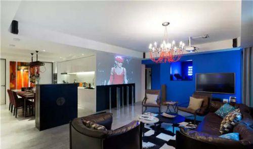 混搭风格五居室客厅背景墙装修效果图大全