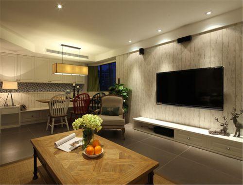 混搭风格三居室客厅电视柜装修图片