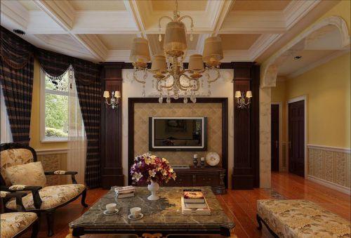 美式客厅大理石茶几效果图