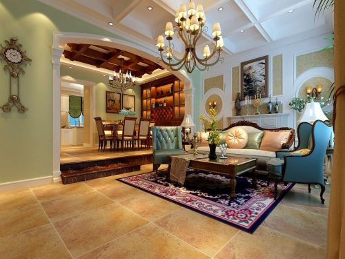 美式风格五居室客厅吊顶装修效果图欣赏
