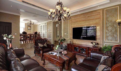 美式风格三居室客厅影视墙装修效果图