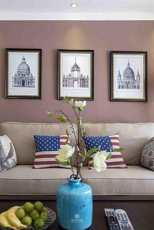 咖啡色美式温馨雅致客厅设计效果图