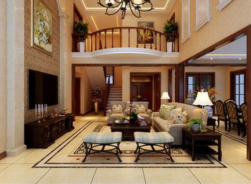 美式风格别墅客厅照片墙装修效果图大全