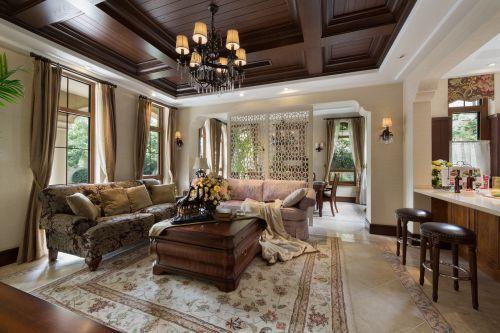 轻奢美式风格客厅沙发装修实景图