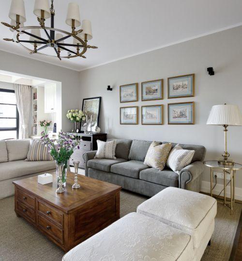 温馨大气美式风格客厅实木茶几装修图片