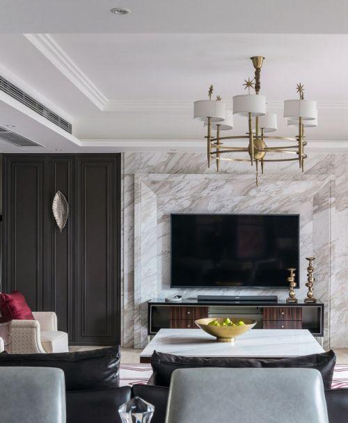 大气精致美式风格客厅时尚灯具装修图片