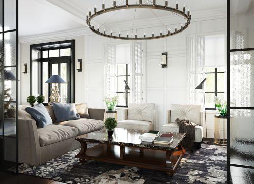 大气典雅美式风格客厅创意灯具图片欣赏