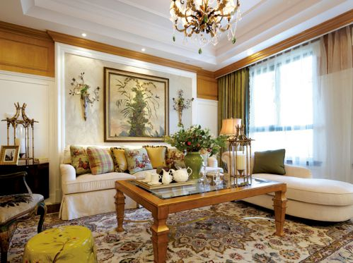 清新优雅美式田园风格舒适客厅装修图片