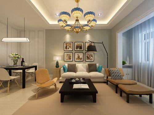 暖意气质美式风格客厅灯具装修设计