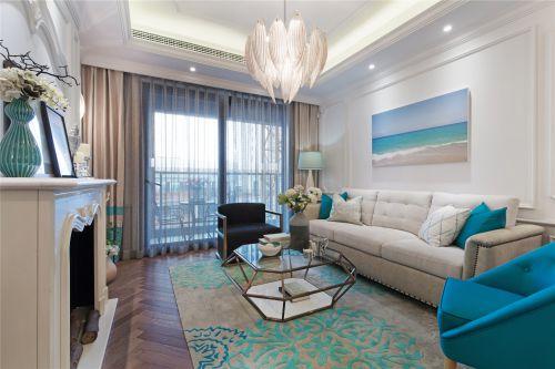气质蓝色美式风格客厅装修实景图