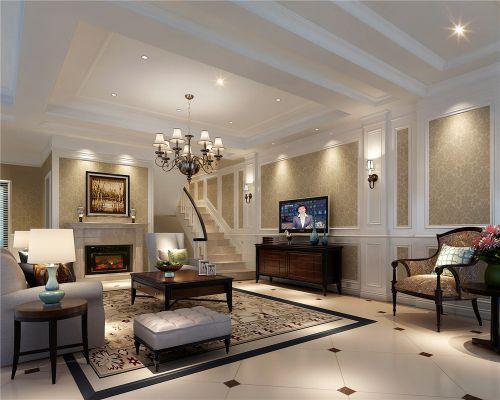简约时尚美式别墅客厅吊顶效果图