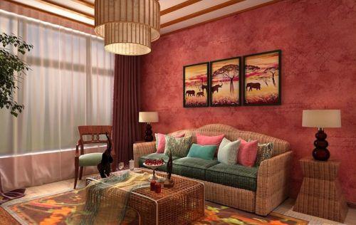 美式风格小户型红色客厅效果图