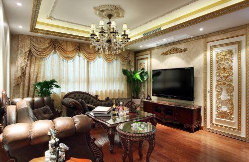 三居室美式咖啡色精美客厅水晶灯灯具效果图