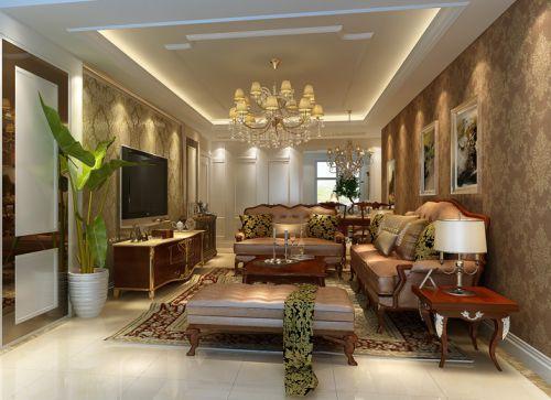 美式二居室客厅梳妆台灯具装修图片