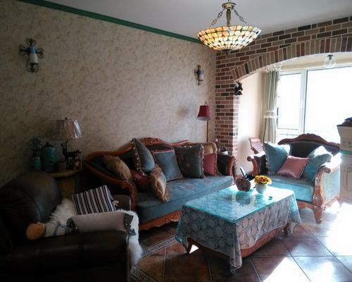 美式休闲混搭三居室客厅装修效果图欣赏