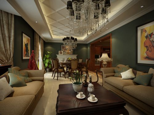 美式风格别墅客厅装修效果图大全