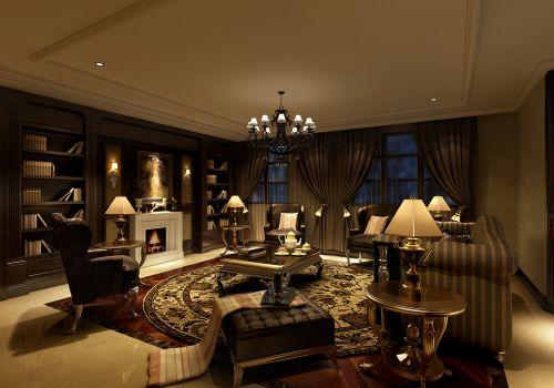 黑色质感美式沙发书柜客厅装修效果图