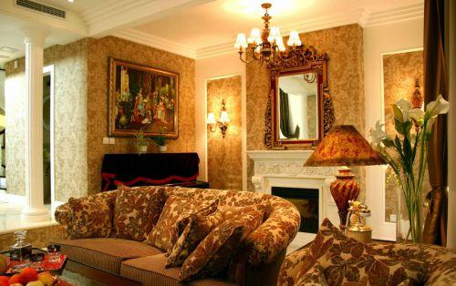 复古美式客厅壁纸效果图