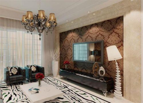 美式风格三居室客厅咖啡色纹理壁纸装修图片