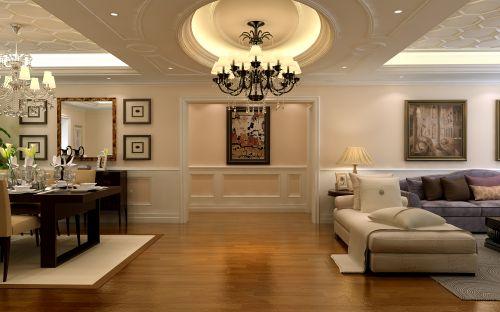 简约美式三居室客厅照片墙装修效果图欣赏