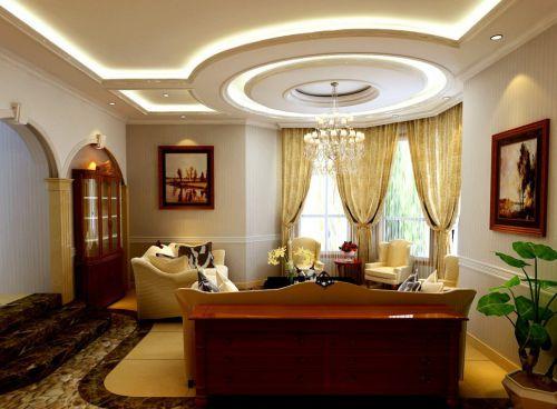 美式三居室客厅圆形吊顶效果图