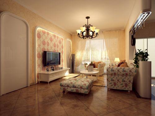 美式田园风格四居室客厅效果图