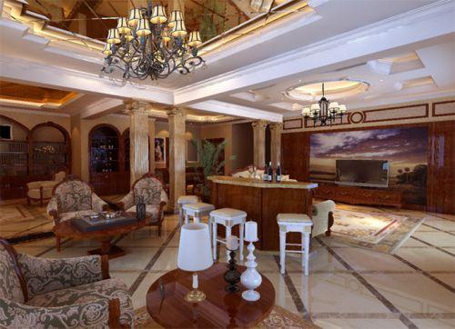 美式古典别墅客厅装修效果图大全