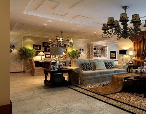 美式风格三居室客厅装修图片