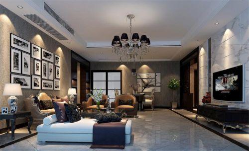 美式风格气质客厅灰色纹理壁纸装修图片