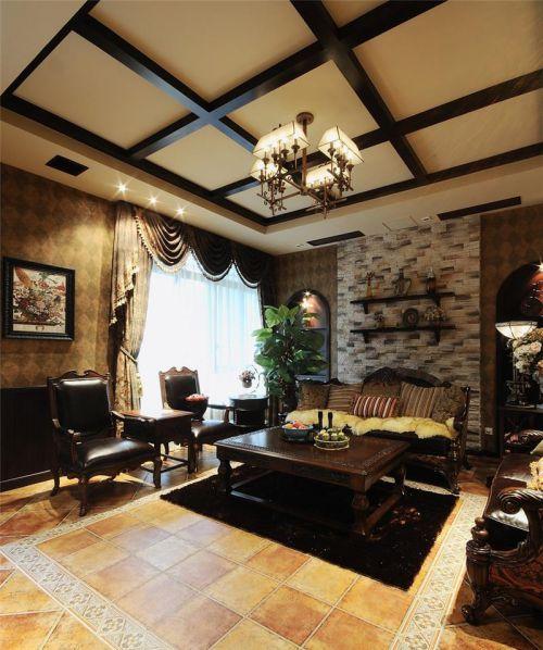 504平美式别墅客厅吊顶装修效果图