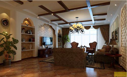 美式乡村设计四居室客厅梳妆台灯具装修效果图大全
