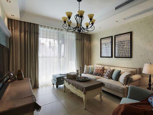 美式田园二居室客厅装修效果图大全