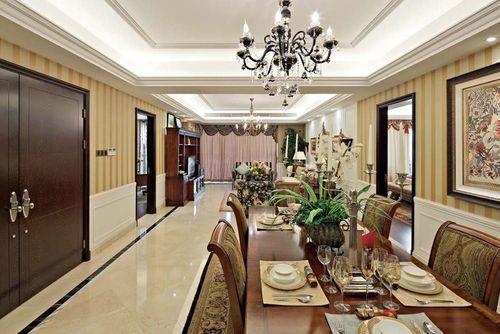 美式古典风格三居室客厅吊顶装修效果图大全