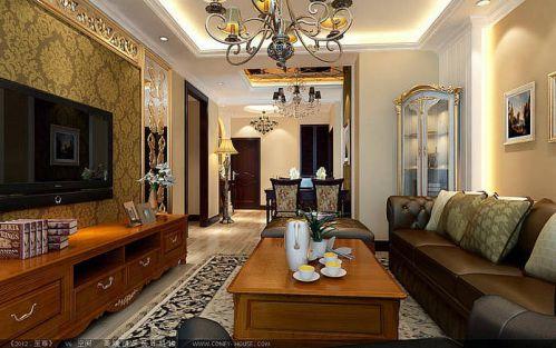 美式休闲二居室客厅装修效果图欣赏