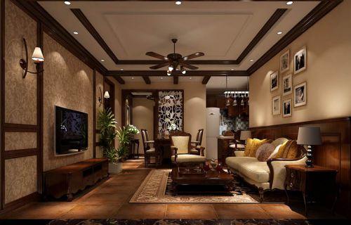 美式风格二居室客厅照片墙装修效果图欣赏