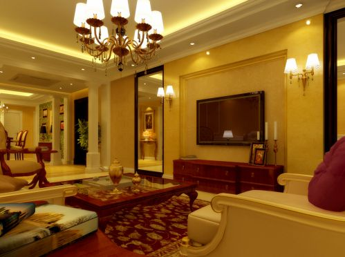 现代美式三居室客厅装修图片欣赏