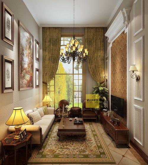 美式风格四居室客厅飘窗装修效果图欣赏