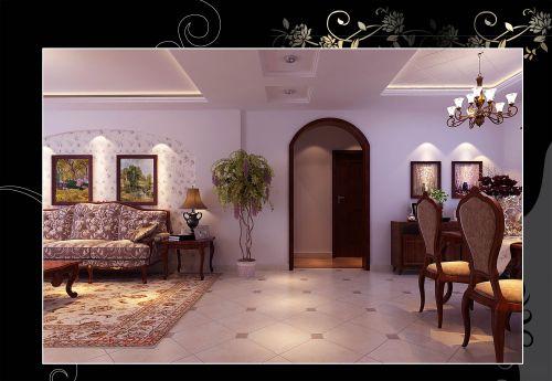 美式田园风格二居室客厅吊顶装修图片