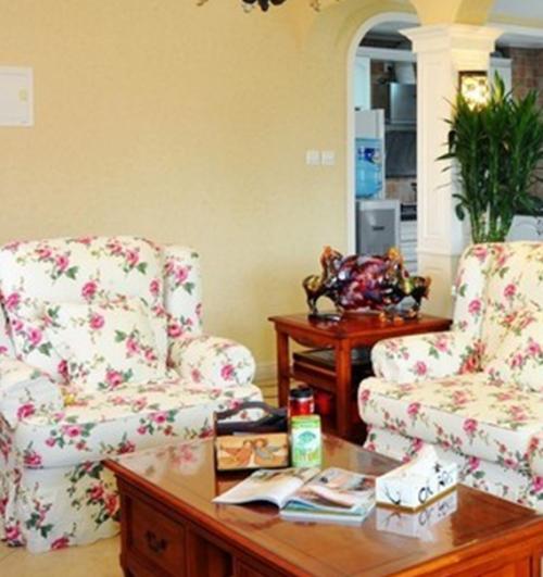 美式乡村二居室客厅装修效果图大全