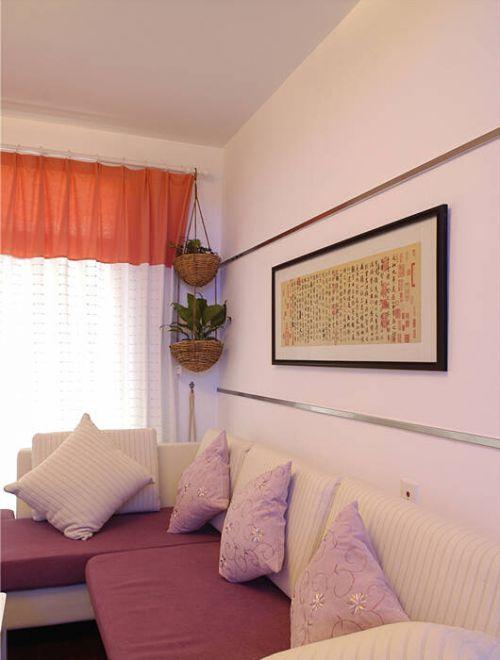 韩式风格二居室客厅背景墙装修图片
