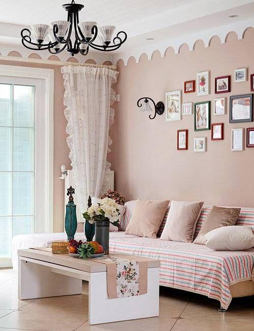 可爱韩式风格客厅粉色背景墙实景图
