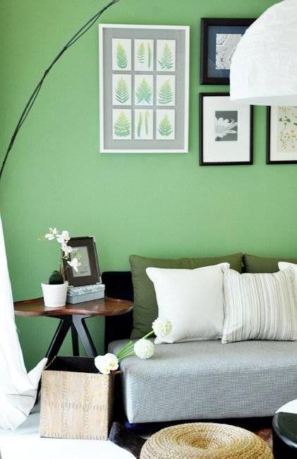清新韩式风格客厅绿色背景墙实景图