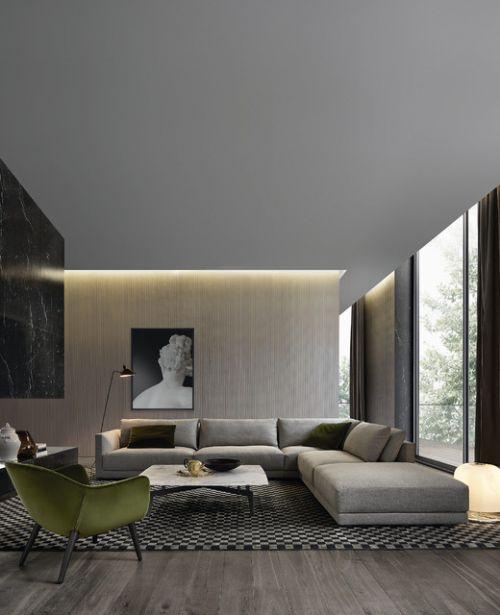 韓式風格公寓大型客廳飄窗裝修設計